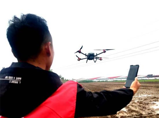 郯城:农民创新无人机播撒水稻创高效